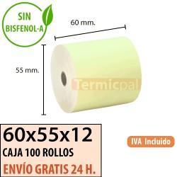 100 ROLLOS DE PAPEL TÉRMICO 60x55 AMARIlLO