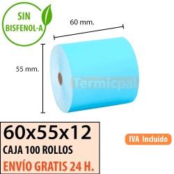 100 ROLLOS DE PAPEL TÉRMICO 60x55 AZUL