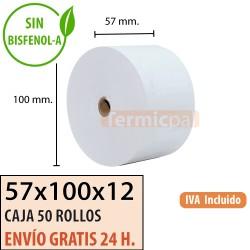 100 ROLLOS DE PAPEL TÉRMICO 57X70x12
