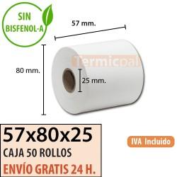 50 ROLLOS DE PAPEL TÉRMICO 57x80x25