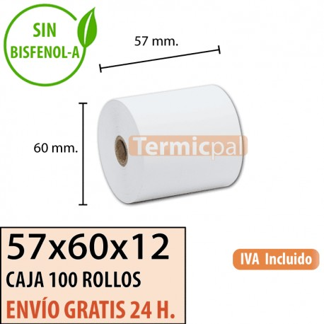 100 ROLLOS DE PAPEL TÉRMICO 57X60X12