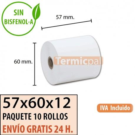 10 ROLLOS DE PAPEL TÉRMICO 57X60X12