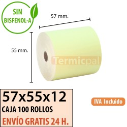 100 ROLLOS DE PAPEL TÉRMICO 57x55 AMARIlLO