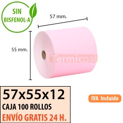 100 ROLLOS DE PAPEL TÉRMICO 57x55 ROSA