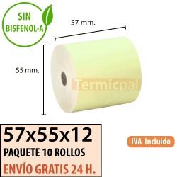 10 ROLLOS DE PAPEL TÉRMICO 57x55 AMARILLO