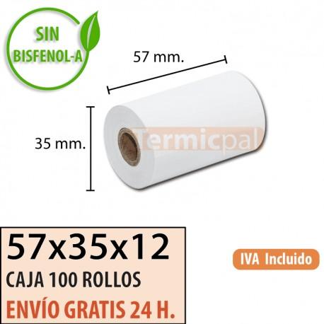 100 ROLLOS DE PAPEL TÉRMICO 57x35x12