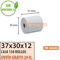 150 ROLLOS DE PAPEL TÉRMICO 37X30X12