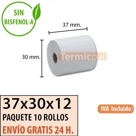 10 ROLLOS DE PAPEL TÉRMICO 37X30X12