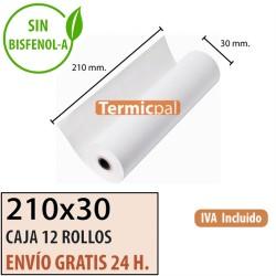 12 ROLLOS DE PAPEL TÉRMICO 210x30x12