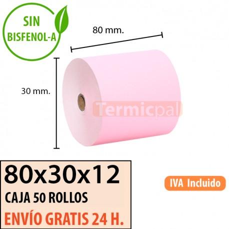 50 ROLLOS DE PAPEL TÉRMICO 80x80X12 ROSA