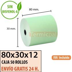 50 ROLLOS DE PAPEL TÉRMICO 80x80X12 verde