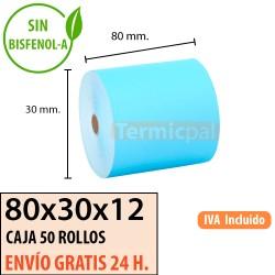 50 ROLLOS DE PAPEL TÉRMICO 80x80X12 AZUL