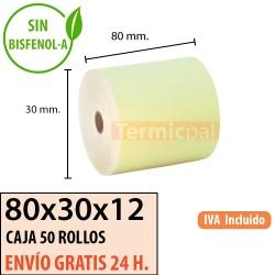 50 ROLLOS DE PAPEL TÉRMICO 80x80X12 AMARILLO