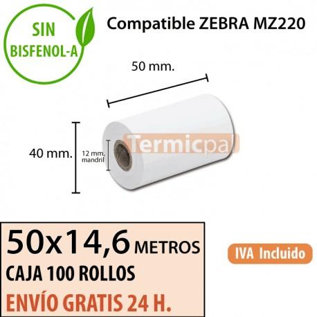 100 Rollos Térmicos 50 x 14.6metros. Para ZEBRA MZ220 – *50x40x12*