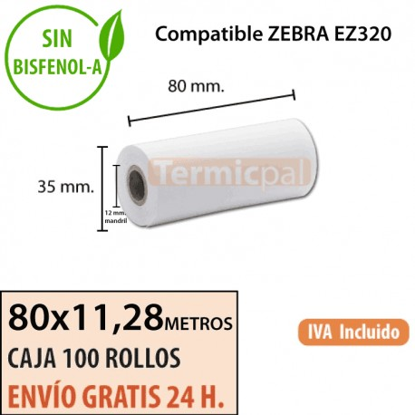100 Rollos Térmicos 80 mm x 11.28m. Para ZEBRA EZ320 – *80x35x12*