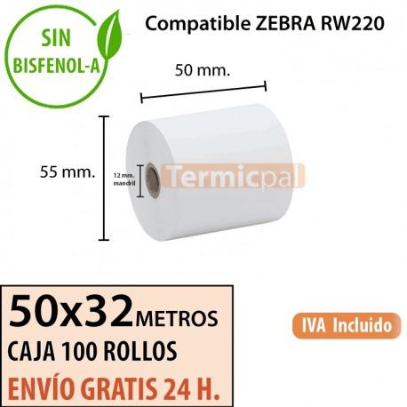 100 Rollos Térmicos 50 x 32 metros. Para ZEBRA RW220 – *50x55x12*