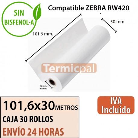 30 Rollos Térmicos 101.6mm x 30m. Para ZEBRA RW420 – *101,6x55x12*