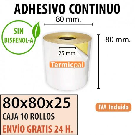 80X80 - 10 Rollos Térmicos Adhesivo Continuo