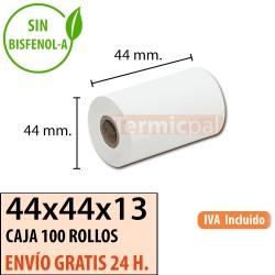 100 ROLLOS PAPEL TERMOGRAFO 44x44x13 OFFSET