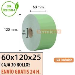 30 Rollos Papel Térmico 60x120x25 Verde