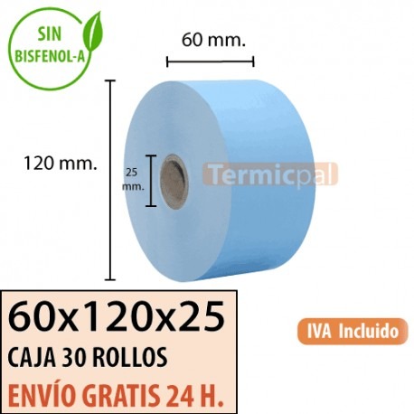 30 Rollos Papel Térmico 60x120x25 Azul