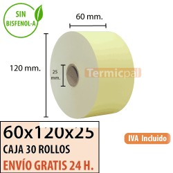 30 Rollos Papel Térmico 60x120x25 Amarillo