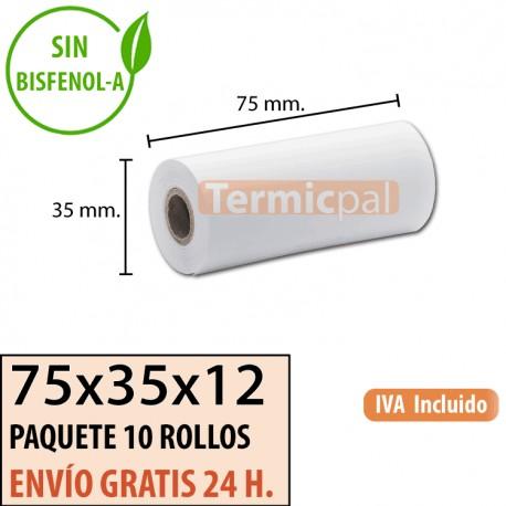 10 ROLLOS DE PAPEL TÉRMICO 75X45X12