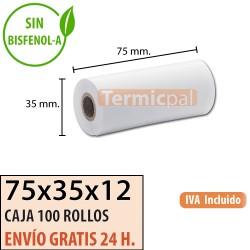 100 ROLLOS DE PAPEL TÉRMICO 75X35X12