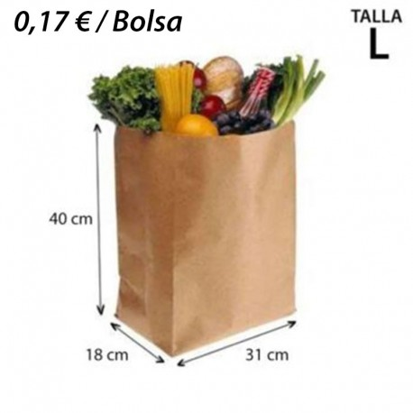 250 BOLSAS DE PAPEL 31+18x40 KRAFT NATURAL SIN ASA