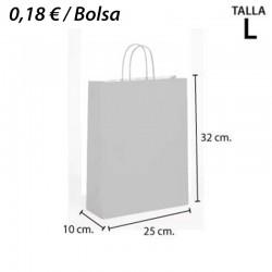 250 BOLSAS PAPEL BLANCAS BARATAS 25+10x32 CM