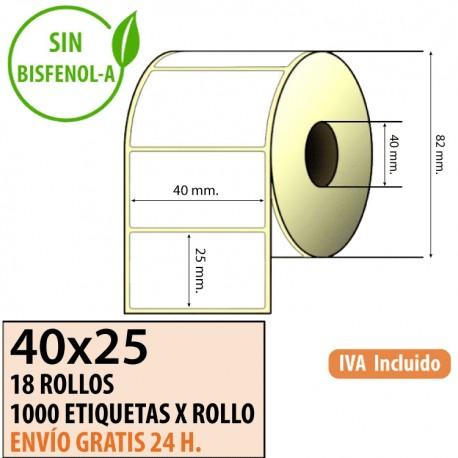 40x25 - 18 Rollos Etiquetas Térmicas