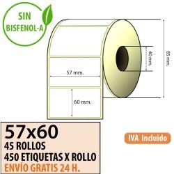 57X45 - 45 Rollos Etiquetas Térmicas