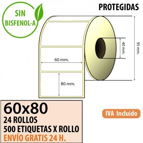 60X80 - 24 Rollos Etiquetas Térmicas