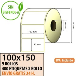 100X150 - 9 Rollos Etiquetas Térmicas