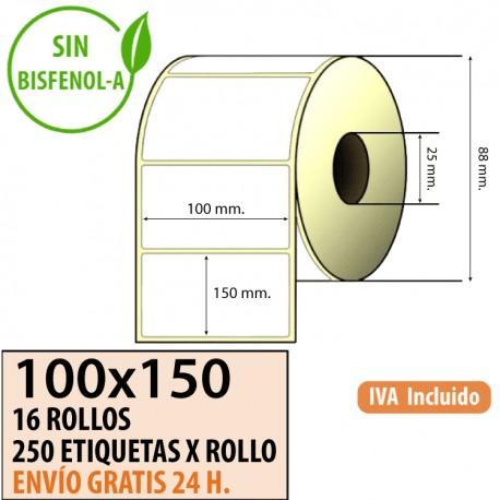100X150 - 16 Rollos Etiquetas Térmicas 250 ET/ROLLO