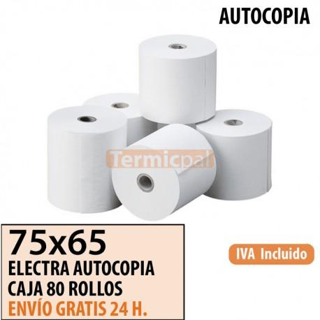 80 ROLLOS DE PAPEL COPIATIVO 75x65
