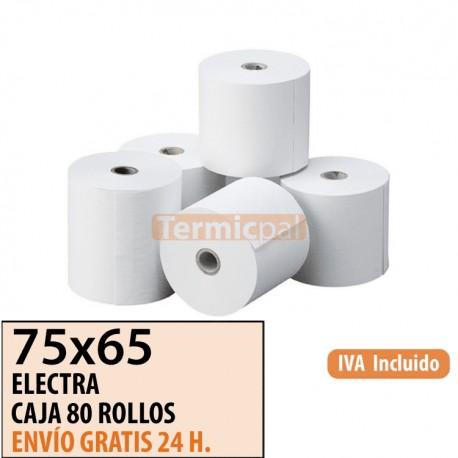 80 ROLLOS DE PAPEL OFFSET 75X65X12 MM