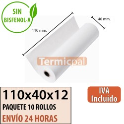 10 ROLLOS DE PAPEL TÉRMICO 110X40X12