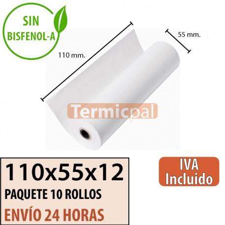 10 ROLLOS DE PAPEL TÉRMICO 110X55X12