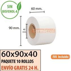 60 ROLLOS DE PAPEL TÉRMICO 60X90x40