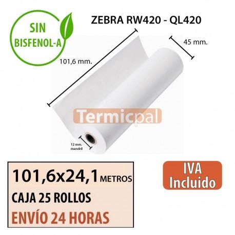 25 Rollos Térmicos 101.6mm x 24.1m. Para ZEBRA QL420 y RW420 – *102x45x12*