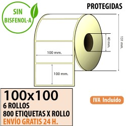 100x100 - 6 Rollos Etiquetas Térmicas PROTEGIDAS