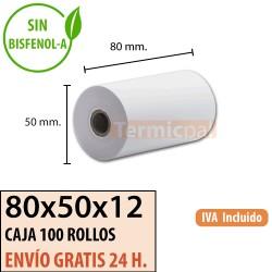 100 ROLLOS DE PAPEL TÉRMICO 80X50X12