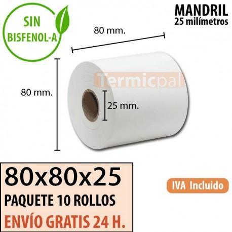 10 ROLLOS DE PAPEL TÉRMICO 80X80x25