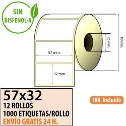 57x32 - 12 Rollos Etiquetas Térmicas